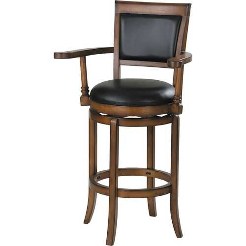 Bar Chair with Swivel, Black PU & Oak - PU, Wood Black PU & Oak