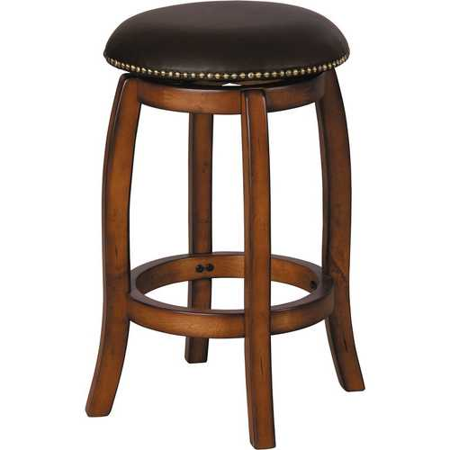 Chelsea Counter Height Stool with Swivel, Black Leather & Vintage Oak