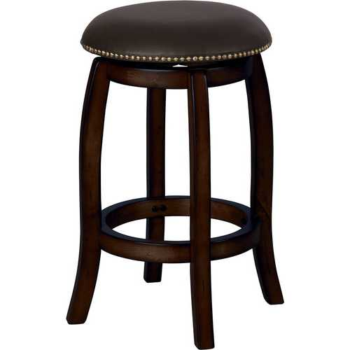 Chelsea Bar Stool with Swivel, Black Leather & Espresso