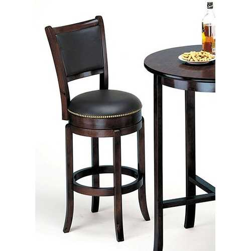 Bar Chair with Swivel, Espresso - Birch Wood Espresso