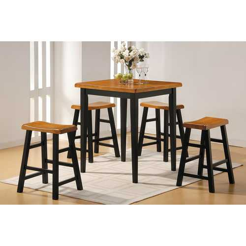 Gaucho 5Pc Pack Counter Height Set, Oak & Black