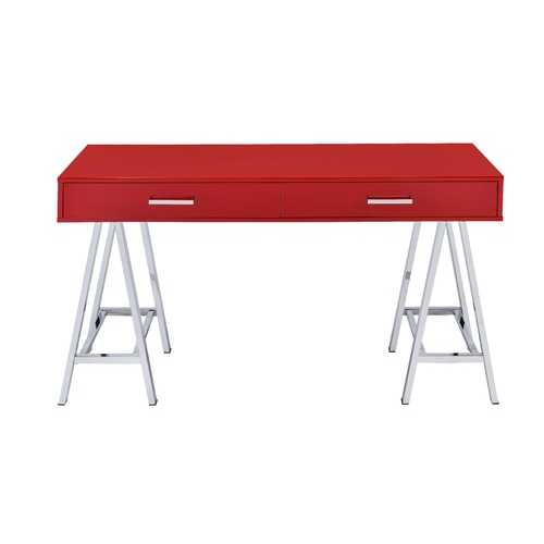 Coleen Desk in Red & Chrome