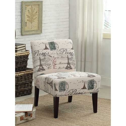 Reece Accent Chair , Fabric & Espresso