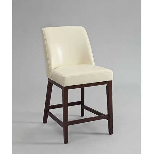 Valor Counter Height Chair (Set-2), Ivory PU & Espresso