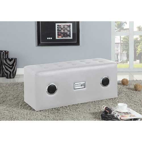 Lounge Bench with Bluetooth Speaker, White PU - PU, FR Foam White PU