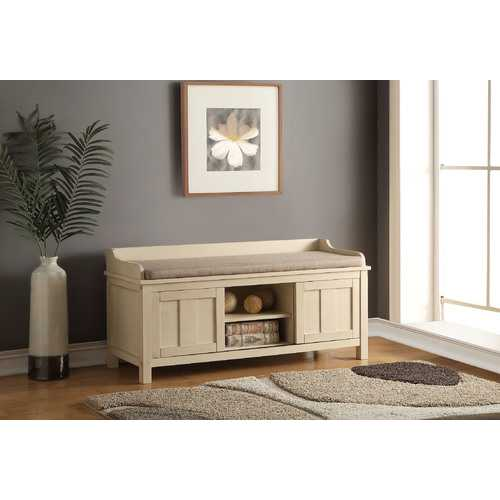 Bench with Storage, Fabric & Cream - Wood (Solid), MDF, Fabric Fabric & Cream