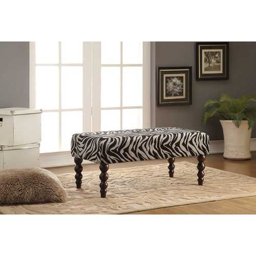 Bench, Zebra Fabric - Rubber Wood, Fabric, CAFR Zebra Fabric