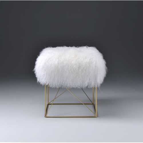 Ottoman in Wool & Gold Brass - Tibet Wool, Metal Wool & Gold Brass