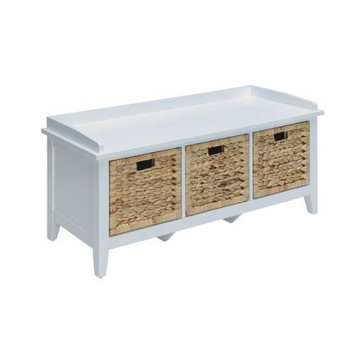 Storage Bench in White - Solid Wood Leg, Wood Vene White