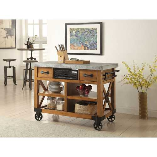 Kailey Kitchen Cart, Antique Oak