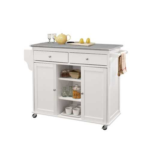 Tullarick Kitchen Island in Stainless Steel and White