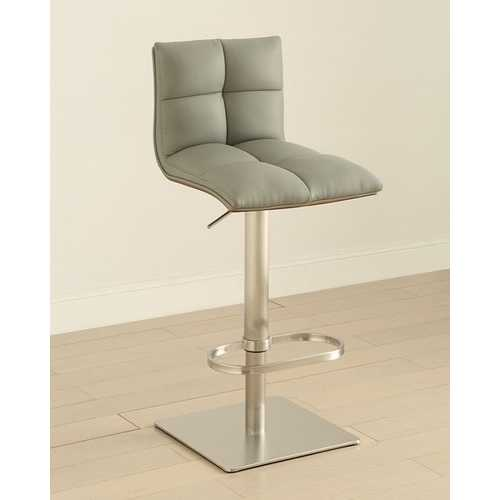 Gray Adjustable Swivel Stainless Steel Barstool with Walnut Finish Back