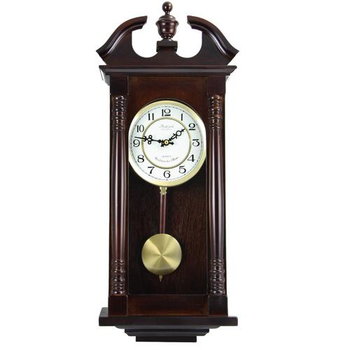 "Bedford Clock Collection 27.5"" Classic Chiming Wall Clock With Swinging Pendulum in Cherry Oak Finish"