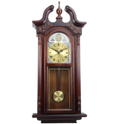 "Bedford Clock Collection 38"" Grand Antique Chiming Wall Clock with Roman Numerals in a in a Cherry Oak Finish"