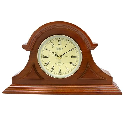 Bedford Clock Collection Mahogany Cherry Mantel Clock with Chimes