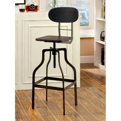 Industrial Swivel Bar Stool, Dark Brown