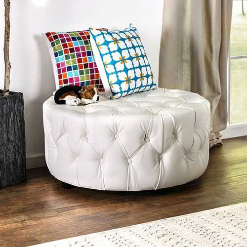 Latoya Contemporary Round Ottoman , White
