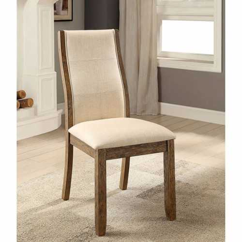 Onway Contemporary Side Chair, Oak & Beige, Set Of 2