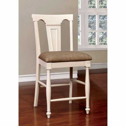 Sabrina Cottage Counter Height Chair, Tan & White, Set Of 2