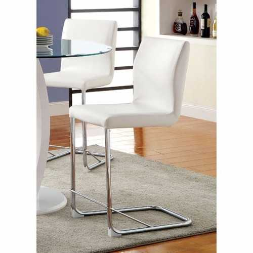 Lodia II Contemporary Counter Height Chair Withwhite Pu, Set Of 2