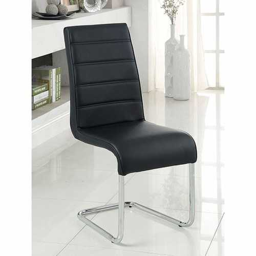 Mauna Contemporary Side Chair With Steel Tube, Black Finish, Set Of 2