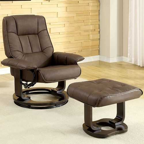 Modish Multifunctional Swivel Lounger Chair With Ottoman, Brown