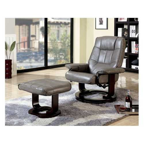 Multifunctional Swivel Lounge Chair With Ottoman, Gray