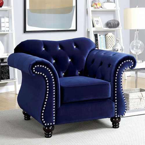 Jolanda Glam Single Chair In Blue Color Flannelette