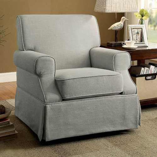 Leela Transitional Swivel Glider And Rocker Chair, Gray Finish