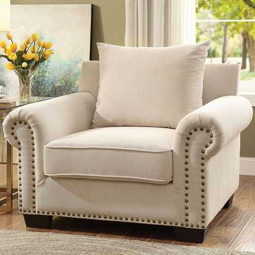 Skyler Transitional Single Chair, Ivory Color