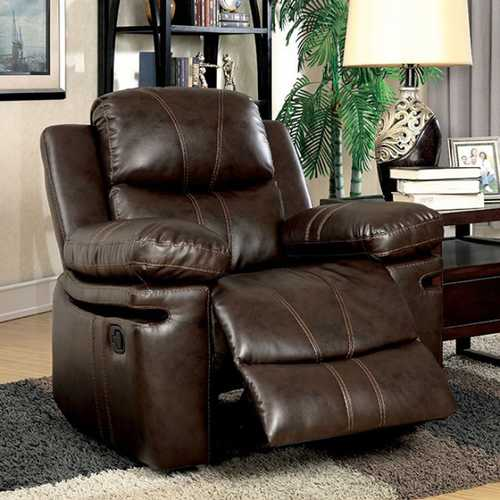 Transitional Recliner Chair, Brown