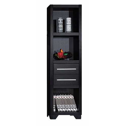 Spacious Media Tower With Drawers, Brown