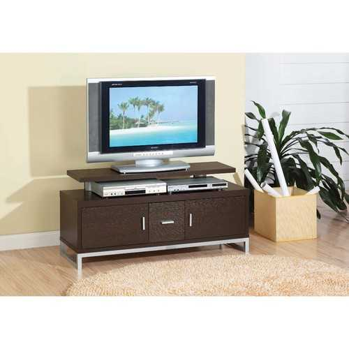 Stylish TV Stand With Chrome Legs, Brown