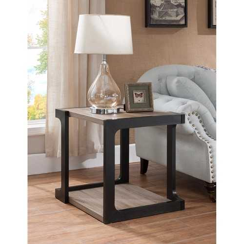 Welcoming Contemporary Style End Table, Black and Brown