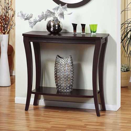 Modish Console Table With 1 Shelf, Dark Brown