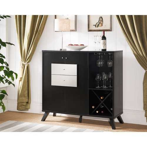 Rich Mirror Drawer Front Modish Buffet Table , Black