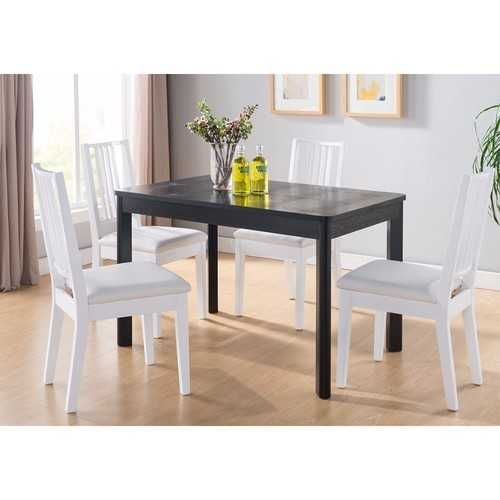 Dining Table With Faux Croc Black Finish