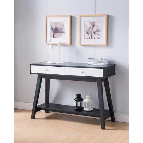Embellishing Monochrome Style Sofa Table, Black and White