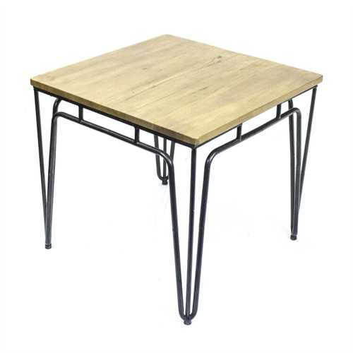 Classic Metal Accent Table With Wood Top, Brown & Black