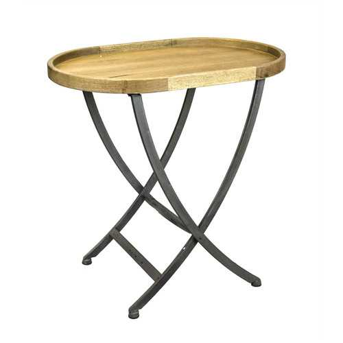 Oval Shape Wood & Metal Side Table With Cross Legs, Brown