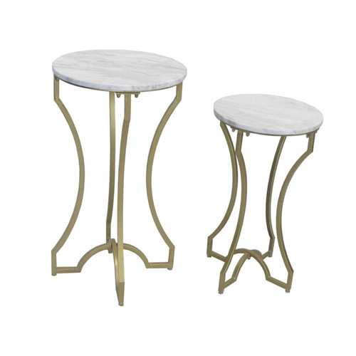 Alluring Metal & Marble Accent Tables, White & Gold, Set Of 2