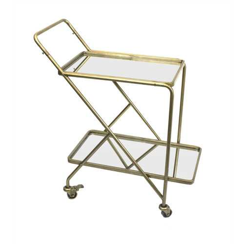 Stylish Mirrored Bar Cart, Gold