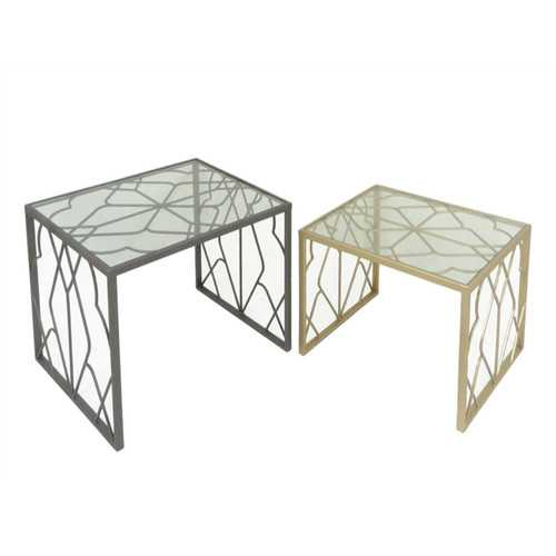 Tremendous Metal & Glass Nested Tables, Silver And Gold, Set Of 2