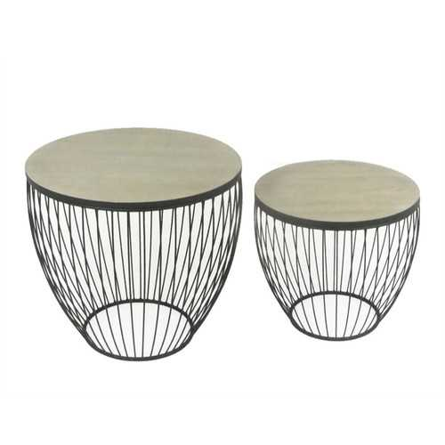 Exotic Metal & Wood Barrel Tables, Black, Set Of 2