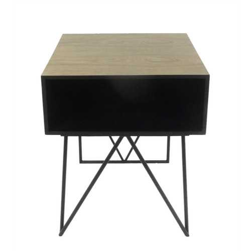Tremendous Wood & Metal Accent Table, Black