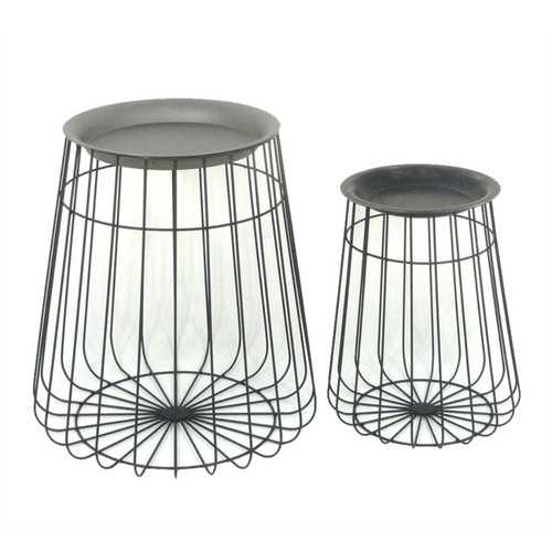 Antique Metal Accent Tables, Set Of 2