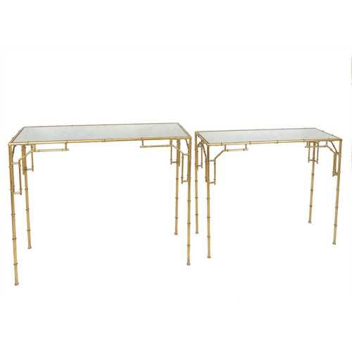 Stunning  Metal & Mirror Console Tables, Gold, Set Of 2