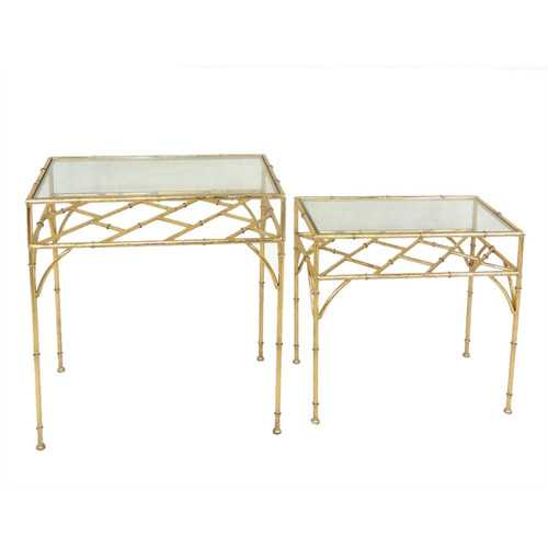 Exotic Metal & Glass Accent Tables, Gold, Set Of 2