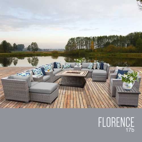 Florence 17 Piece Outdoor Wicker Patio Furniture Set 17b