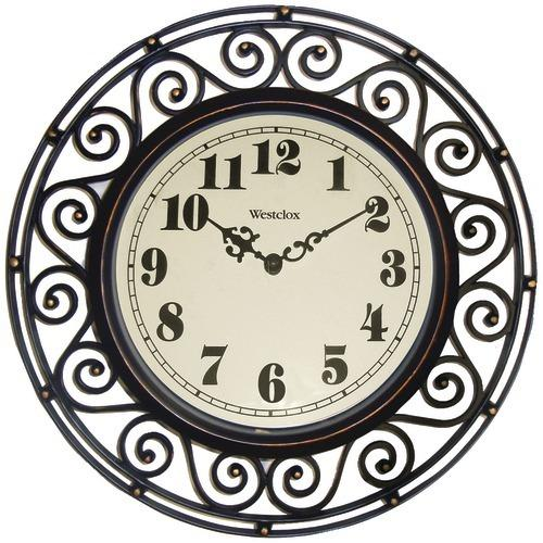 "Westclox 12"" Round Filigree Rubbed Bronze Finish Clock (pack of 1 Ea)"